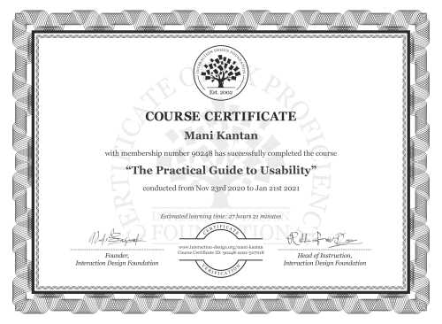 Mani Kantan's Course Certificate: The Practical Guide to Usability