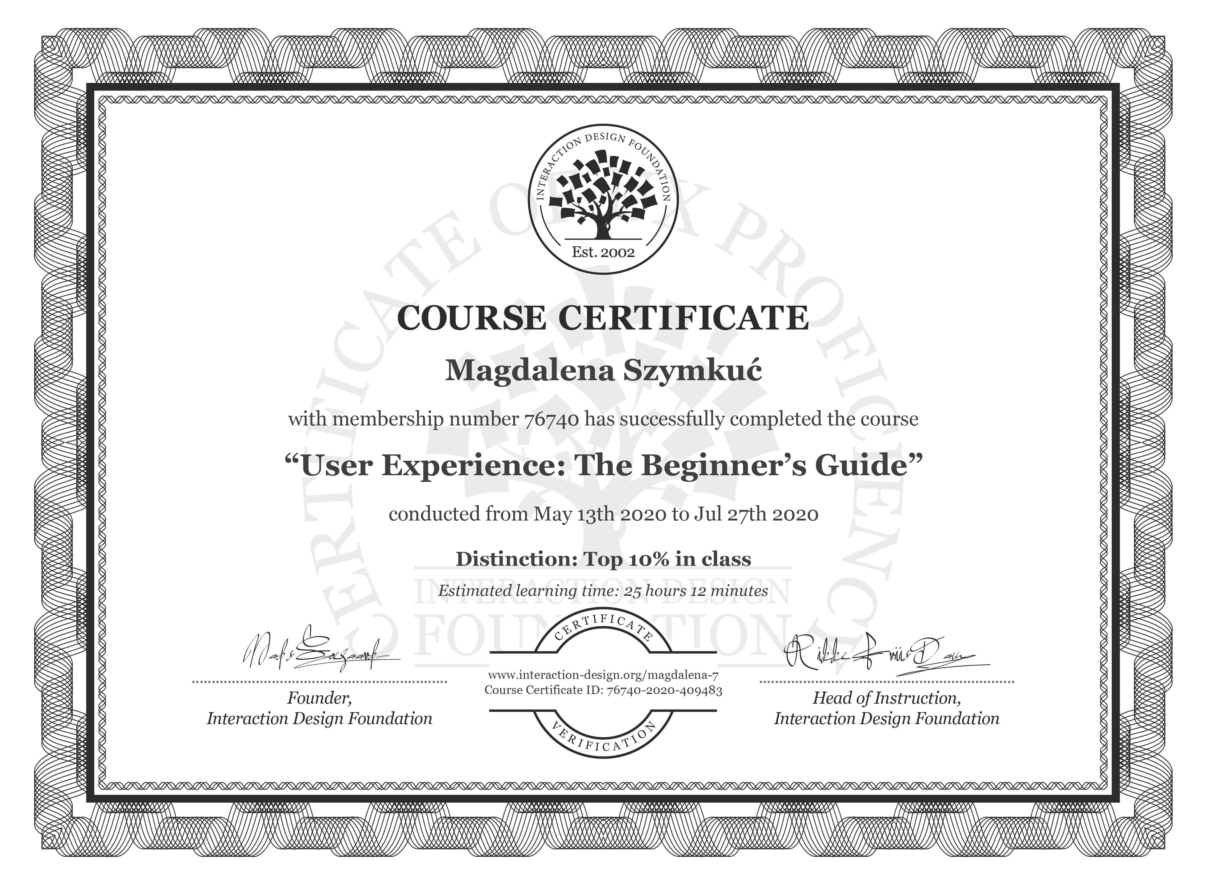 Magdalena Szymkuć's Course Certificate: Become a UX Designer from Scratch