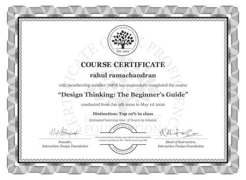 rahul ramachandran's Course Certificate: Design Thinking: The Beginner's Guide
