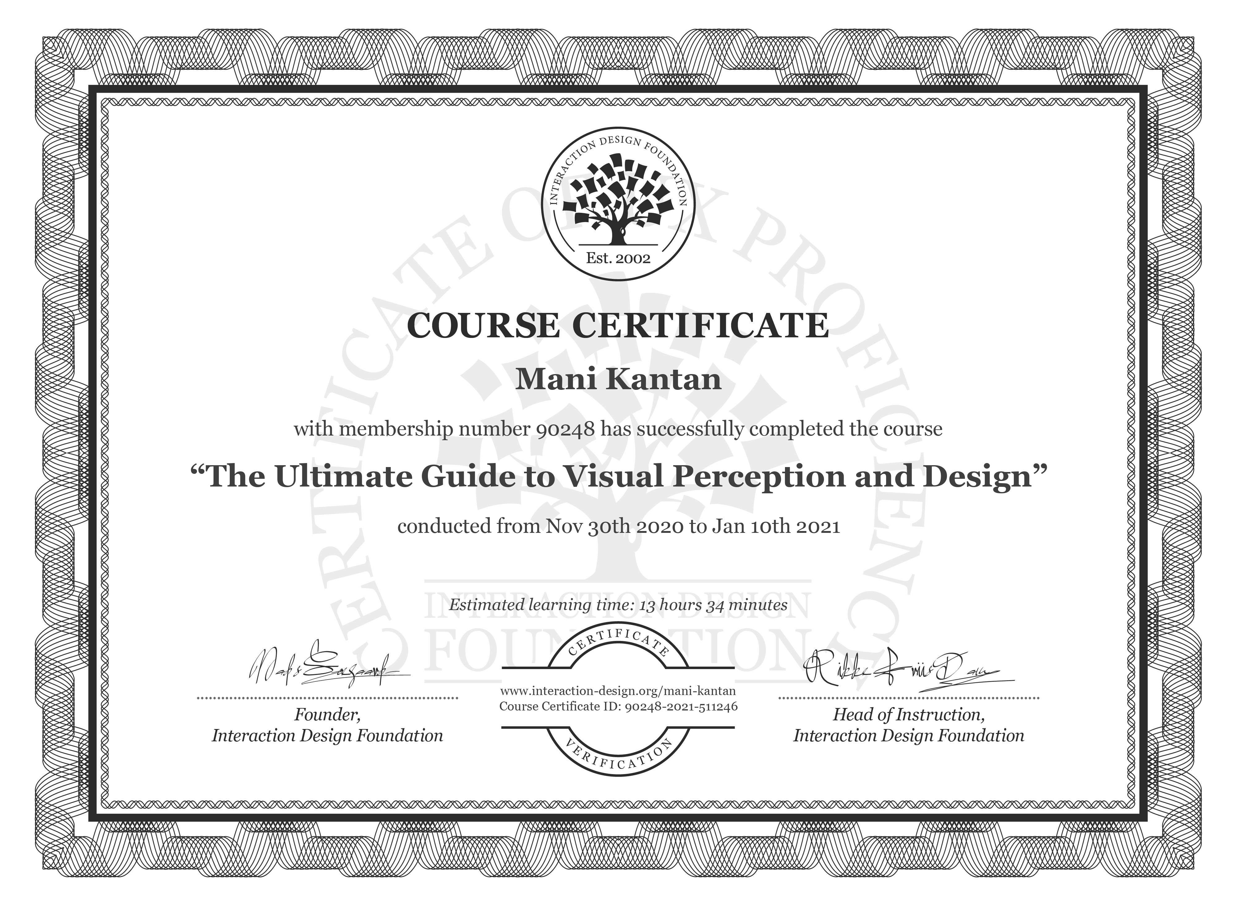 Mani Kantan's Course Certificate: The Ultimate Guide to Visual Perception and Design