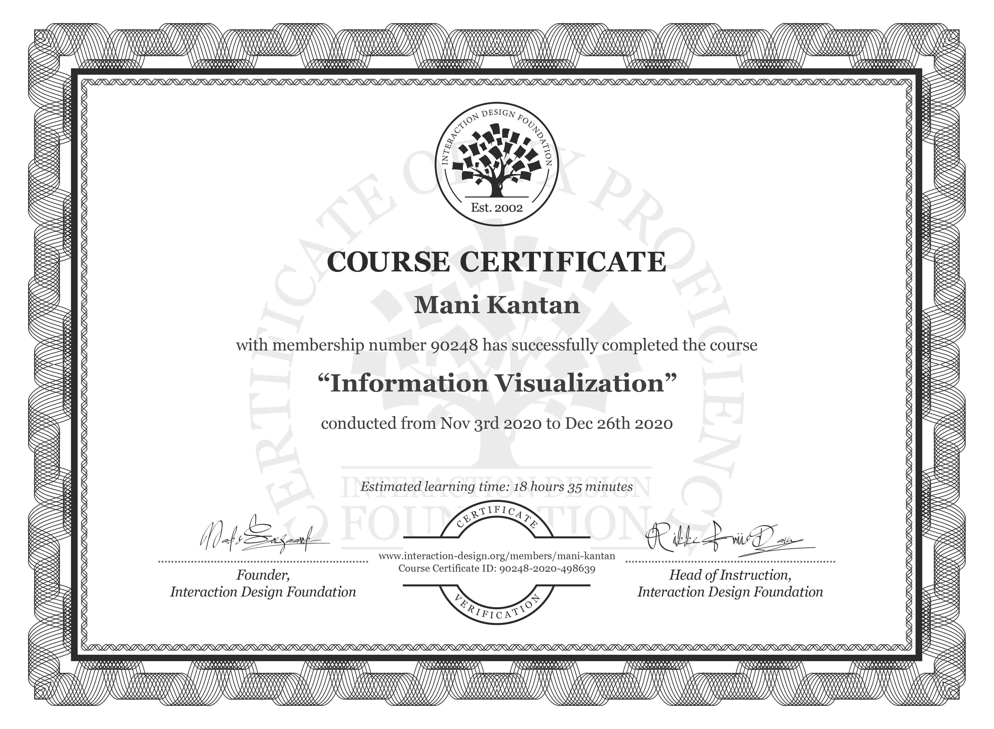 Mani Kantan's Course Certificate: Information Visualization