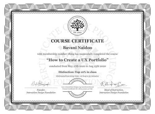 Bavani Naidoo's Course Certificate: How to Create a UX Portfolio