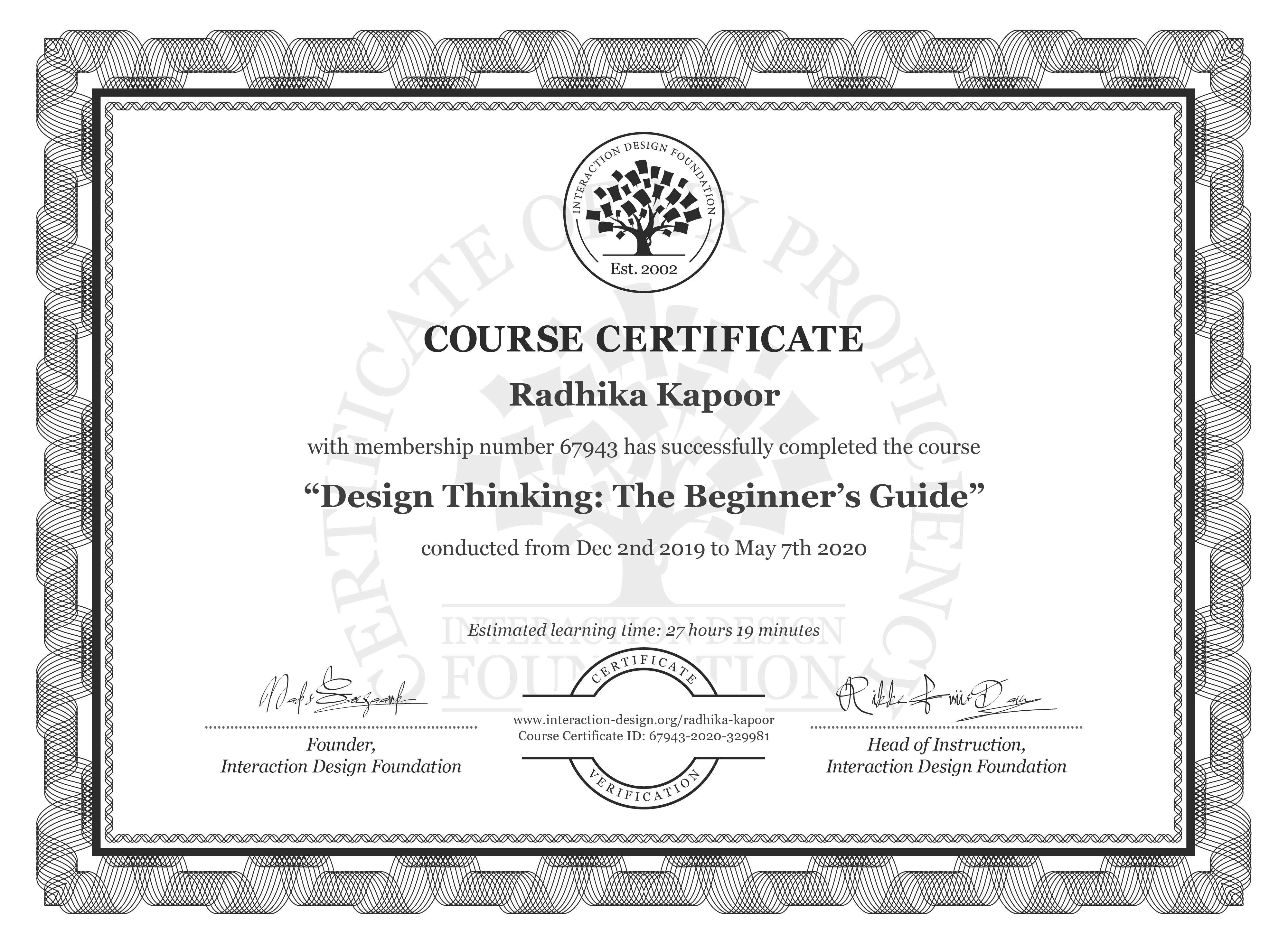 Radhika Kapoor's Course Certificate: Design Thinking: The Beginner's Guide