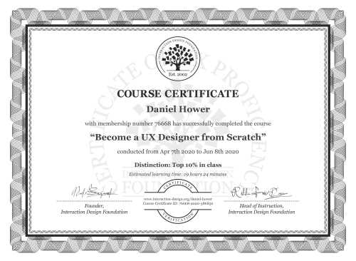 Daniel Hower's Course Certificate: User Experience: The Beginner's Guide