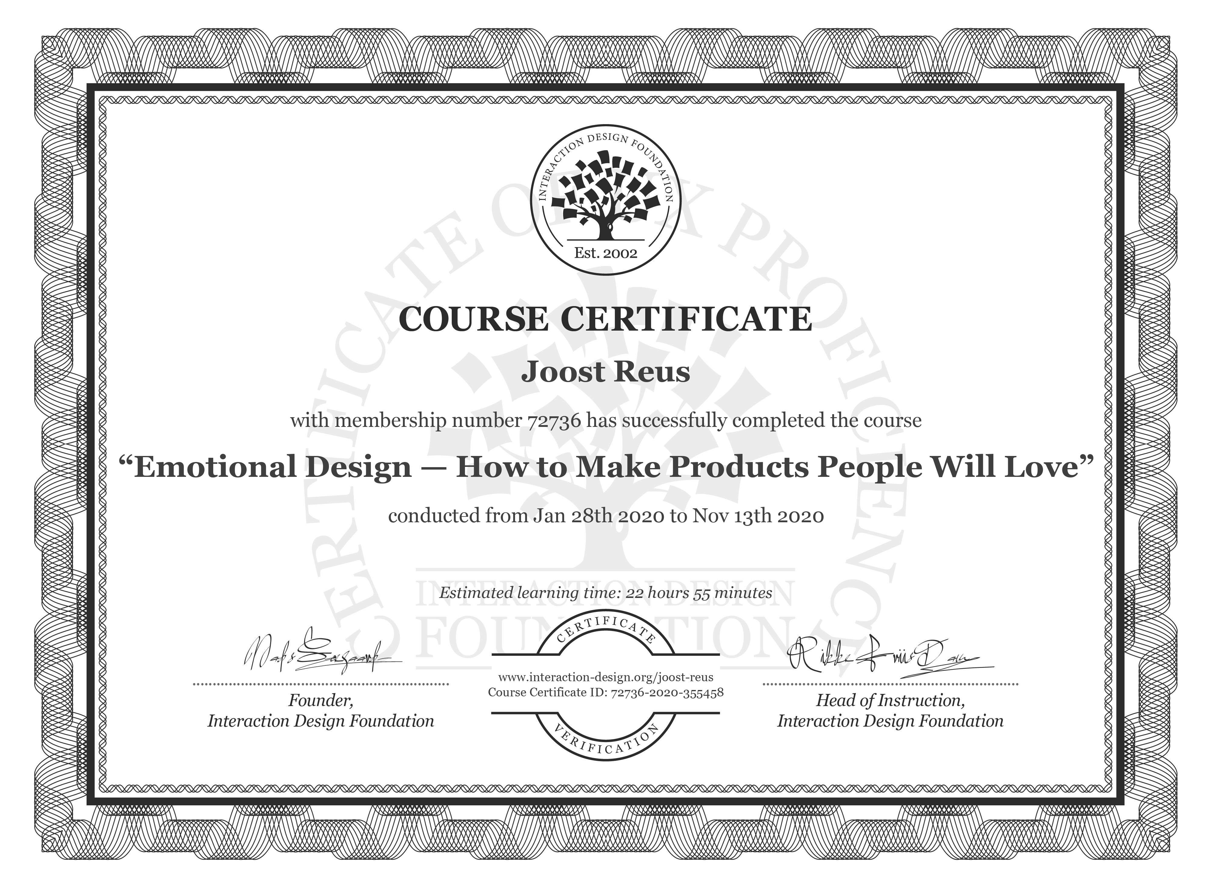Joost Reus's Course Certificate: Emotional Design — How to Make Products People Will Love