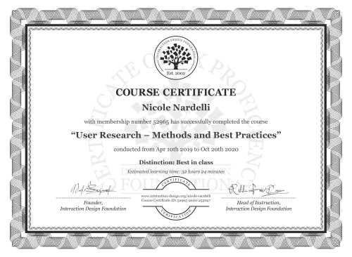 Nicole Nardelli's Course Certificate: User Research – Methods and Best Practices