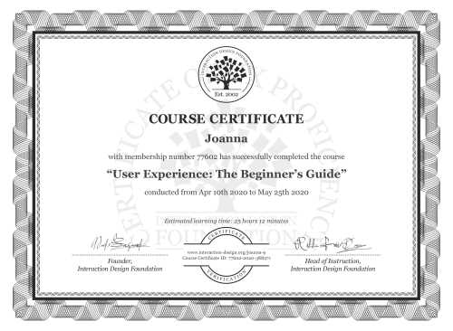Joanna's Course Certificate: Become a UX Designer from Scratch