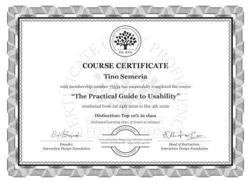 Tino Semeria's Course Certificate: The Practical Guide to Usability