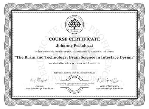 Johanny Pestalozzi's Course Certificate: The Brain and Technology: Brain Science in Interface Design