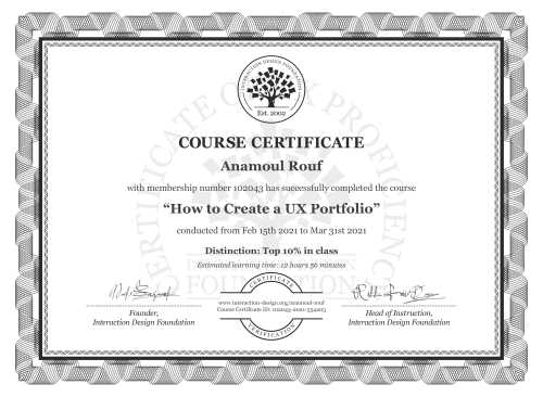Anamoul Rouf's Course Certificate: How to Create a UX Portfolio