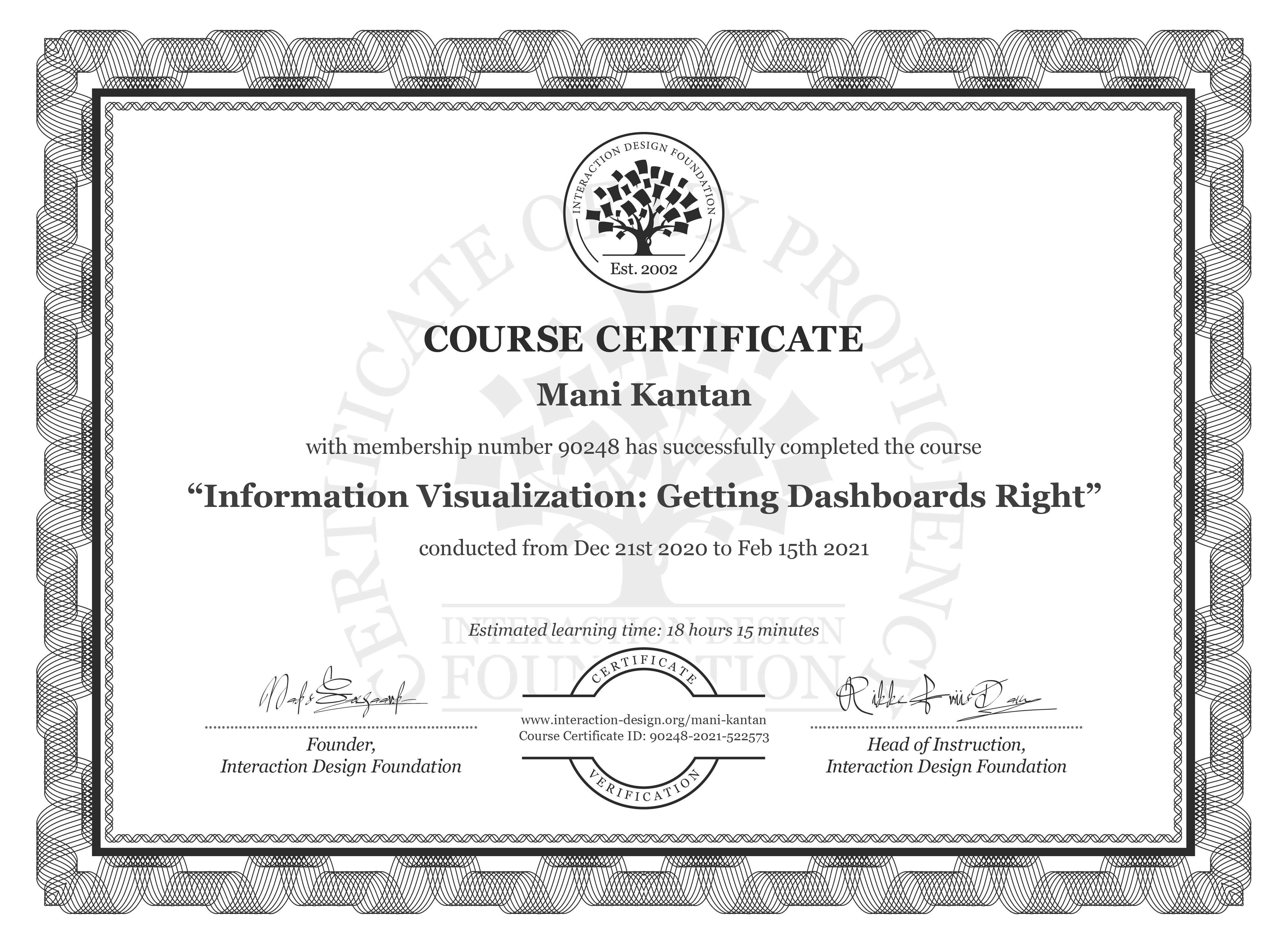 Mani Kantan's Course Certificate: Information Visualization: Getting Dashboards Right