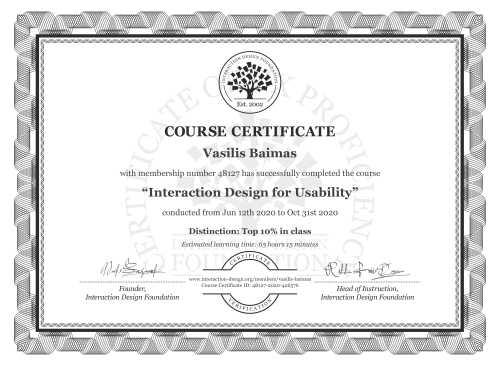 Vasilis Baimas's Course Certificate: Interaction Design for Usability