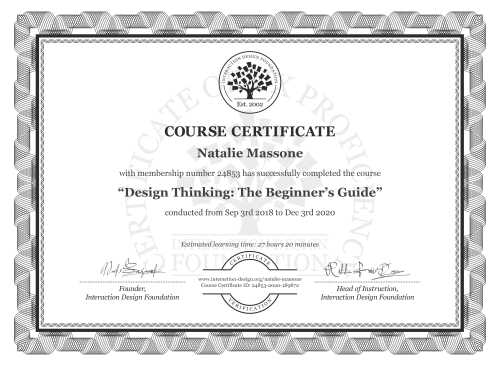Natalie Massone's Course Certificate: Design Thinking: The Beginner's Guide