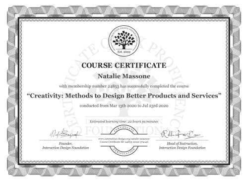 Natalie Massone's Course Certificate: Creativity: Methods to Design Better Products and Services