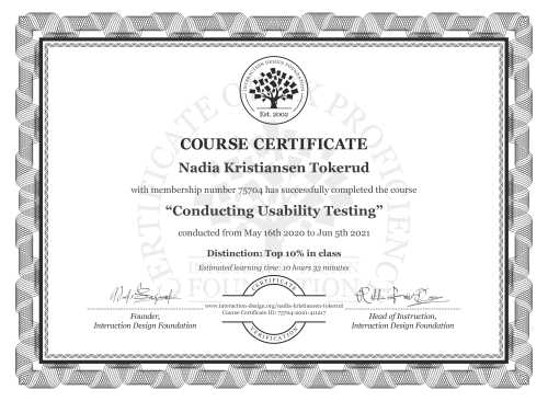Nadia Kristiansen Tokerud's Course Certificate: Conducting Usability Testing