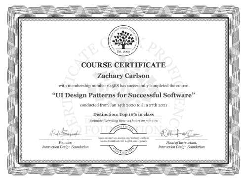 Zachary Carlson's Course Certificate: UI Design Patterns for Successful Software