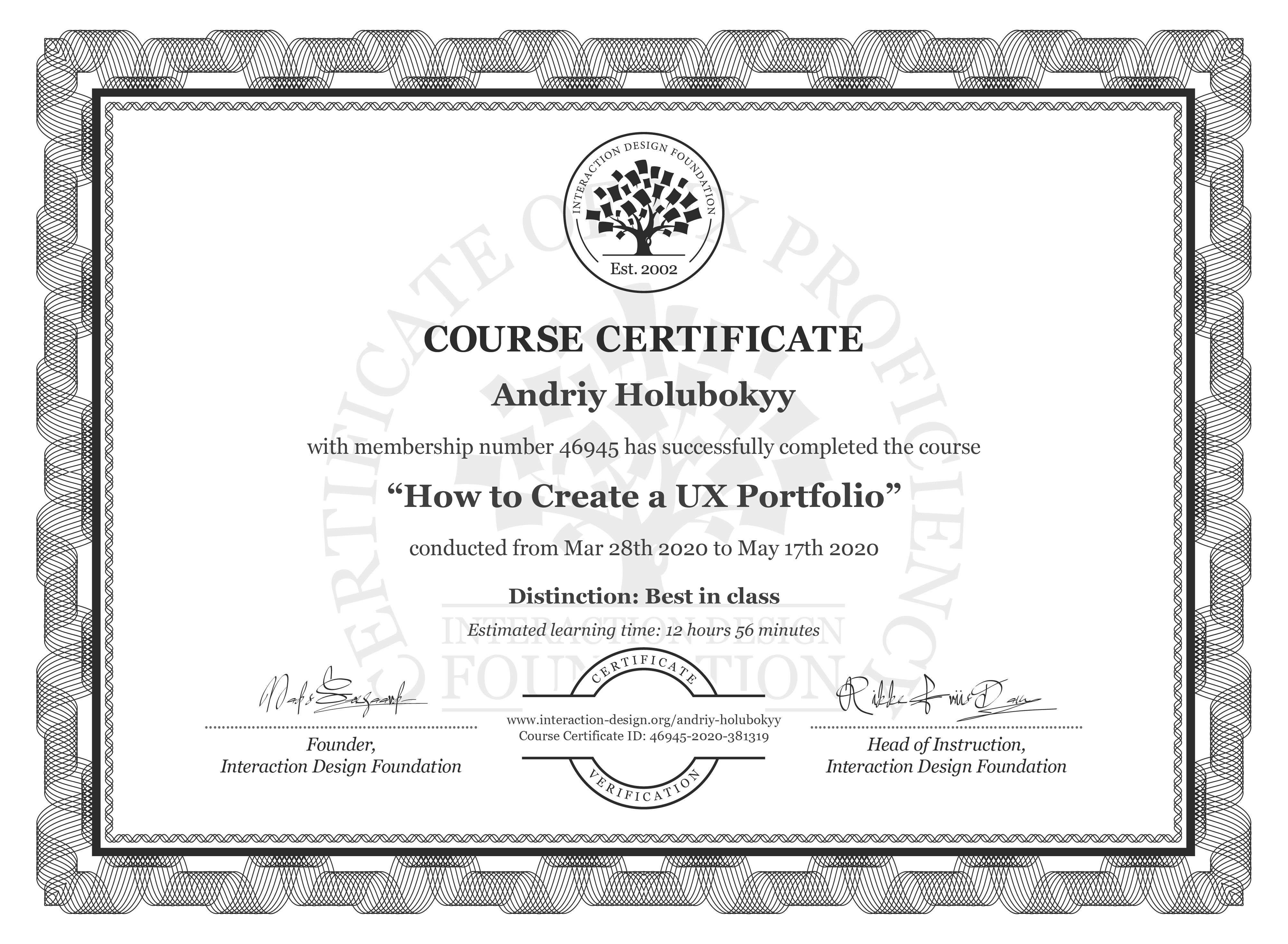 Andriy Holubokyy's Course Certificate: How to Create a UX Portfolio