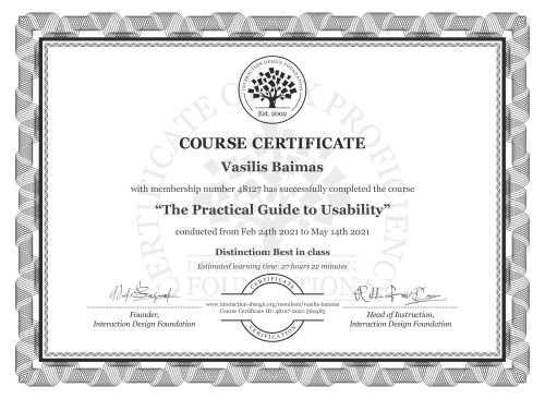 Vasilis Baimas's Course Certificate: The Practical Guide to Usability