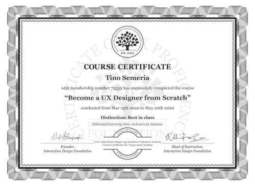 Tino Semeria's Course Certificate: User Experience: The Beginner's Guide
