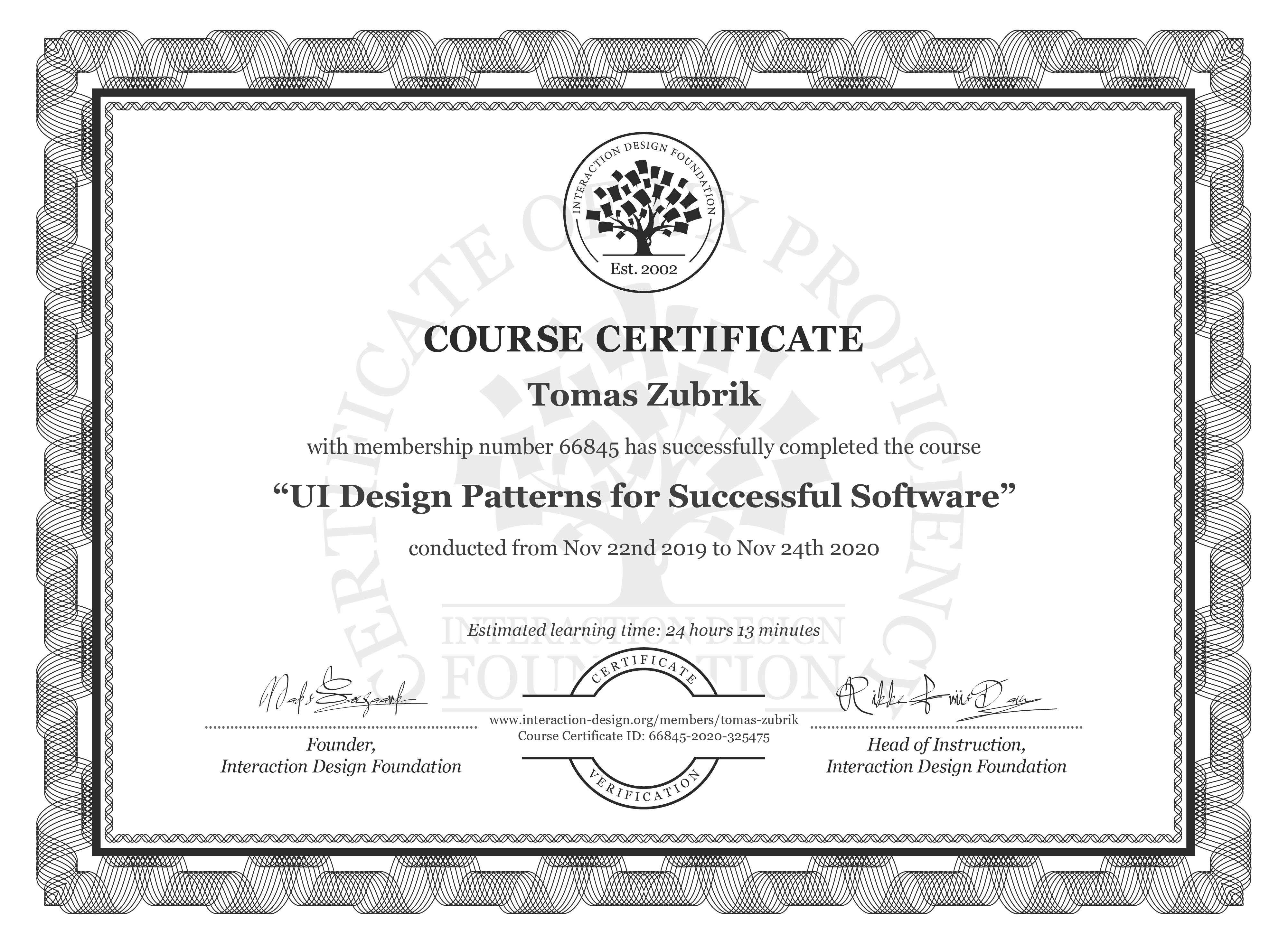 Tomáš Zúbrik's Course Certificate: UI Design Patterns for Successful Software