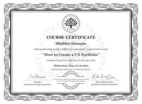 Shabbir Hossain's Course Certificate: How to Create a UX Portfolio