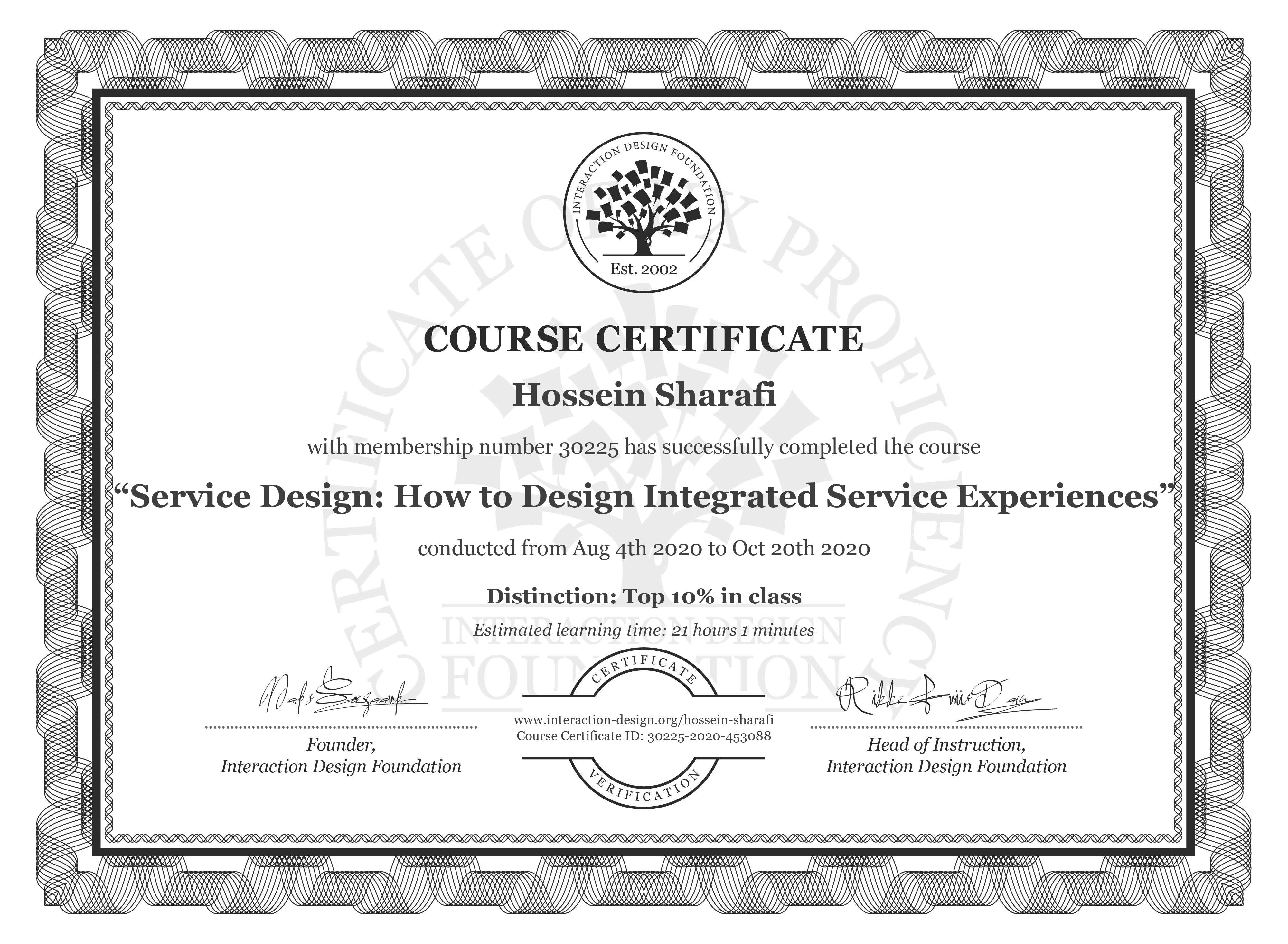 Hossein Sharafi's Course Certificate: Service Design: How to Design Integrated Service Experiences