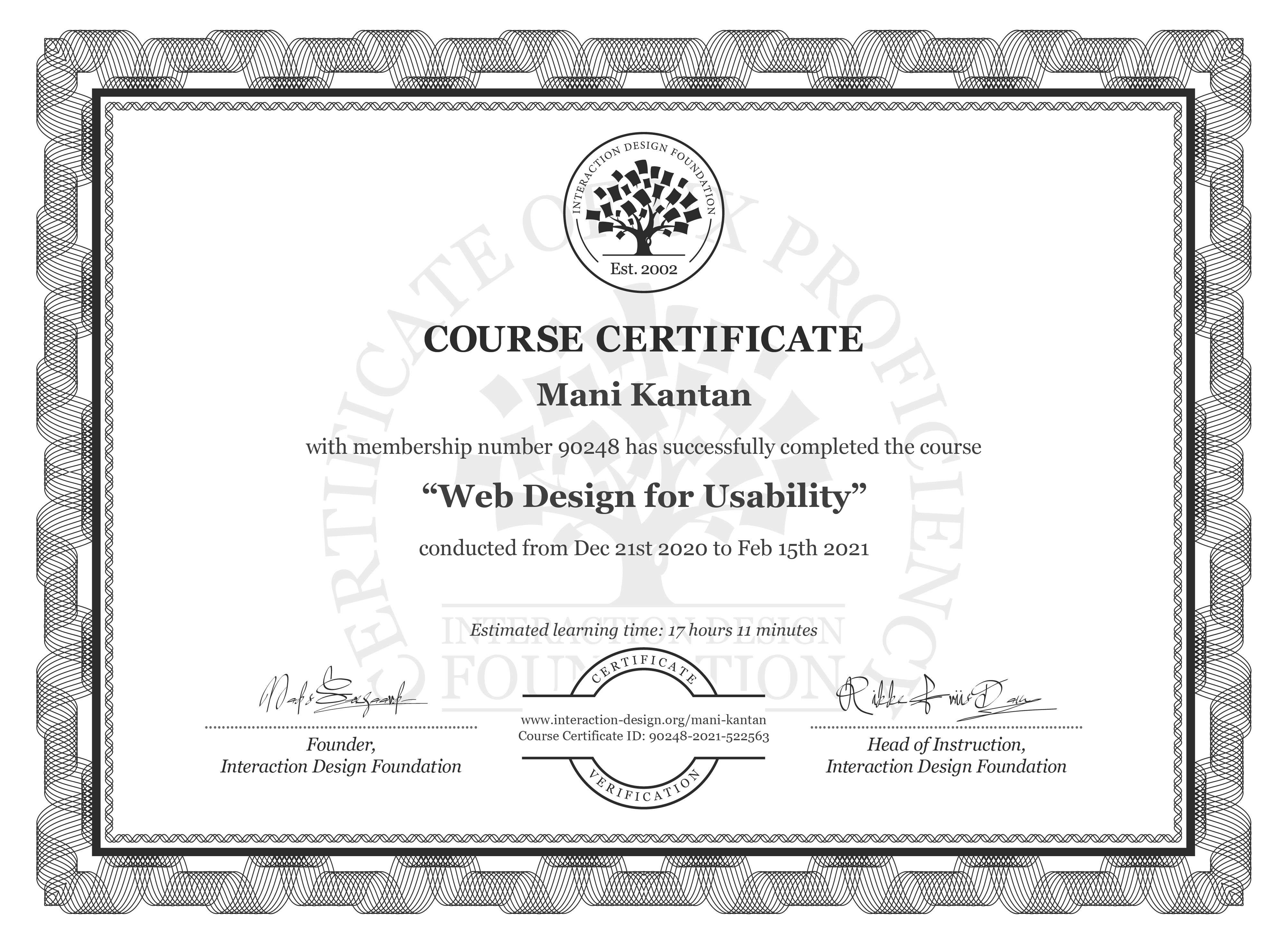 Mani Kantan's Course Certificate: Web Design for Usability