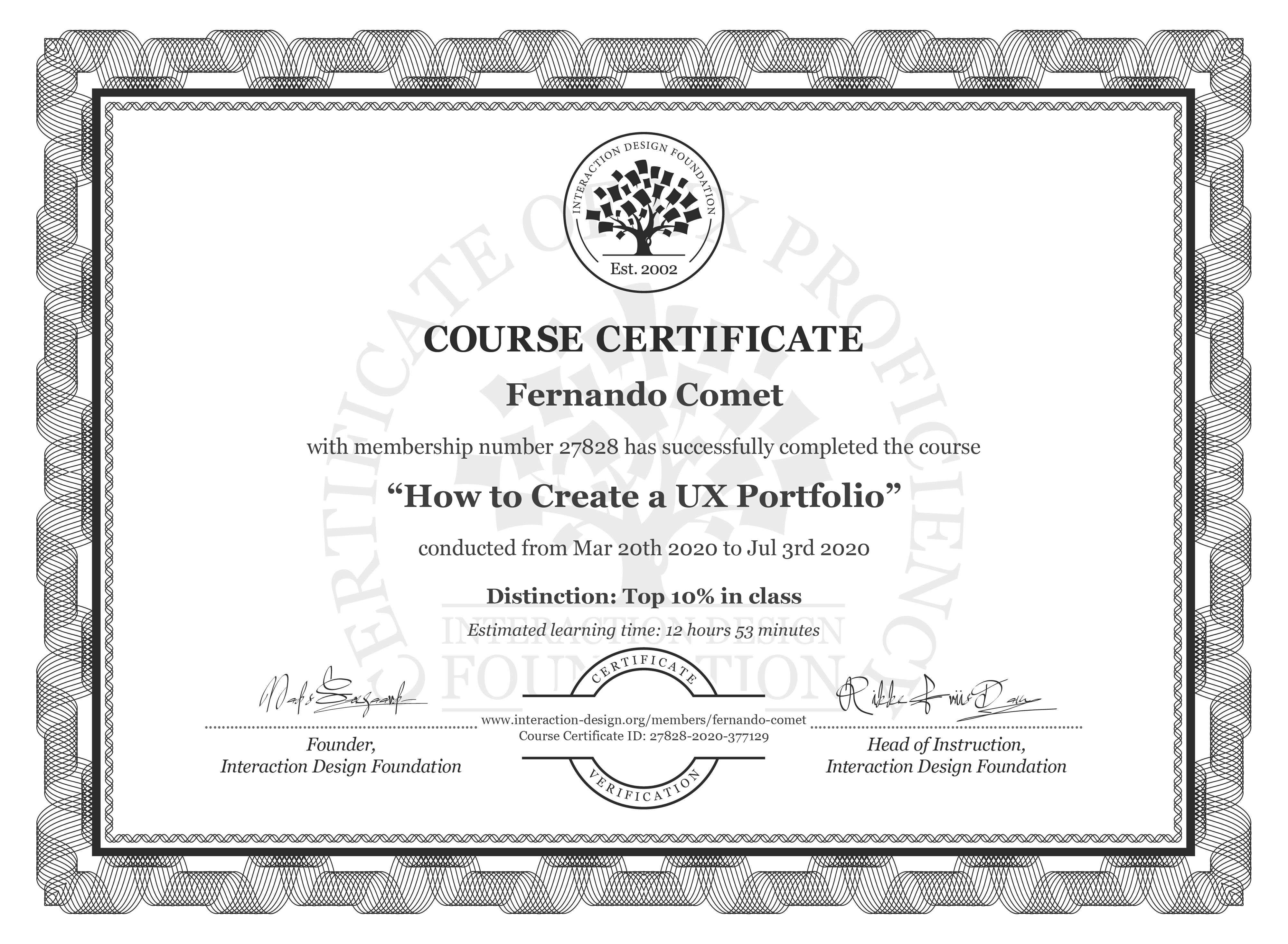 Fernando Comet's Course Certificate: How to Create a UX Portfolio