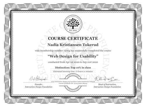 Nadia Kristiansen Tokerud's Course Certificate: Web Design for Usability