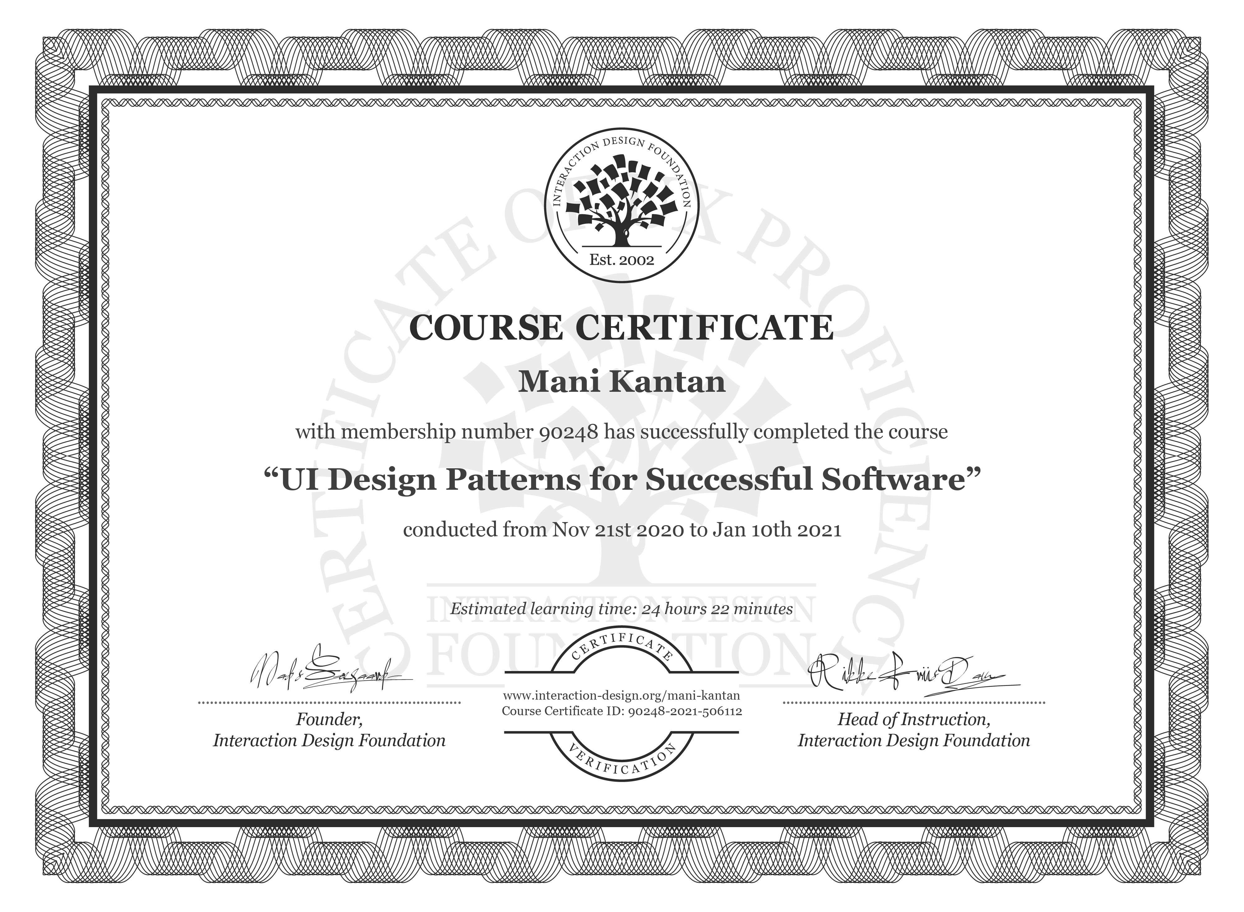 Mani Kantan's Course Certificate: UI Design Patterns for Successful Software
