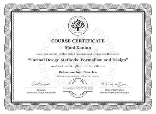 Mani Kantan's Course Certificate: Formal Design Methods: Formalism and Design