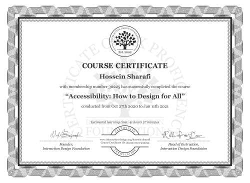 Hossein Sharafi's Course Certificate: Accessibility: How to Design for All