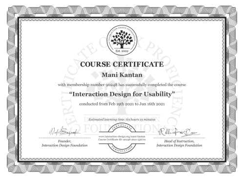 Mani Kantan's Course Certificate: Interaction Design for Usability