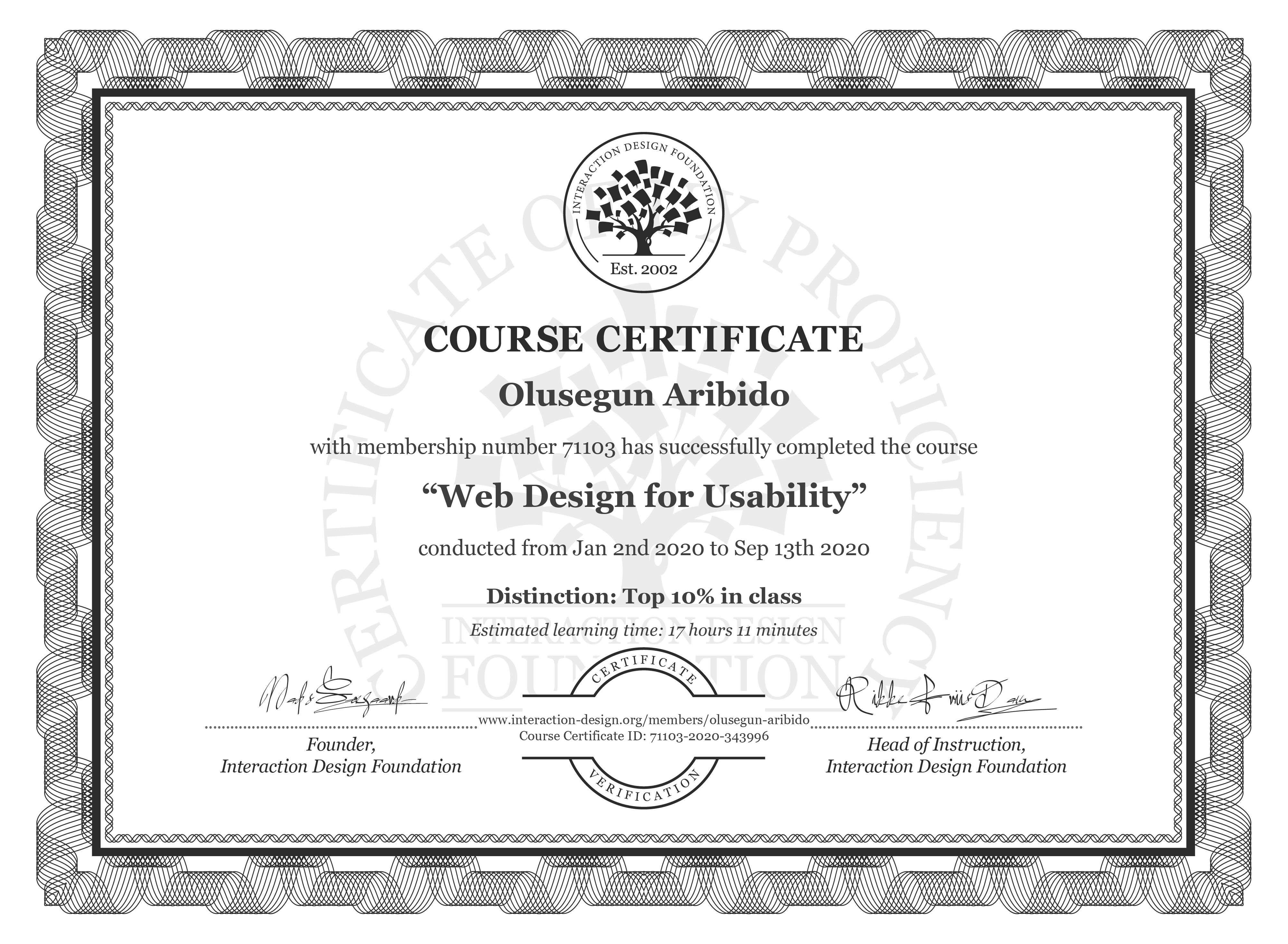 Olusegun Aribido's Course Certificate: Web Design for Usability