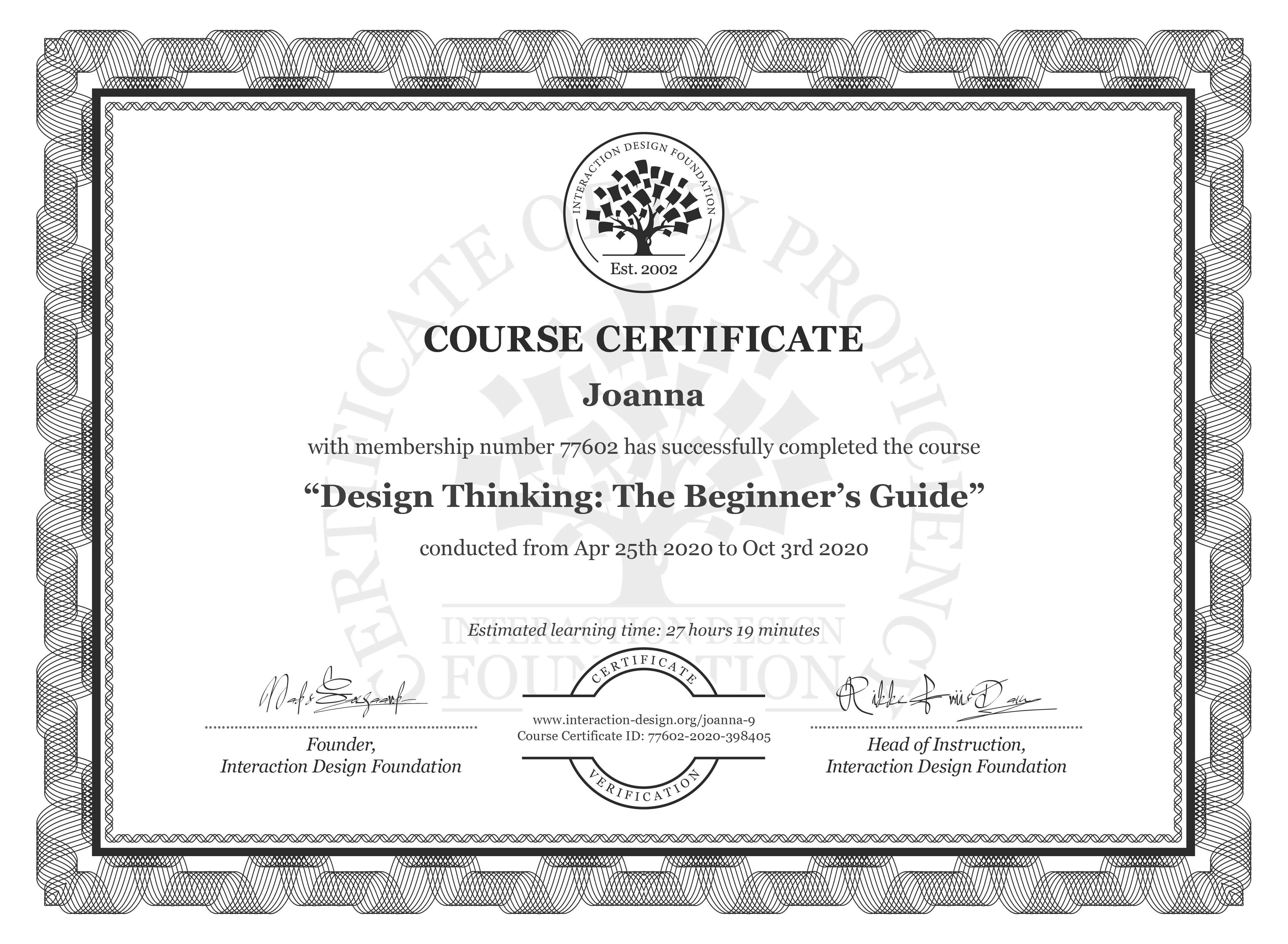 Joanna's Course Certificate: Design Thinking: The Beginner's Guide