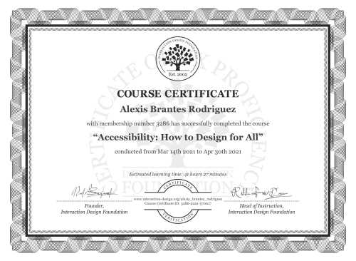 Alexis Brantes Rodriguez's Course Certificate: Accessibility: How to Design for All