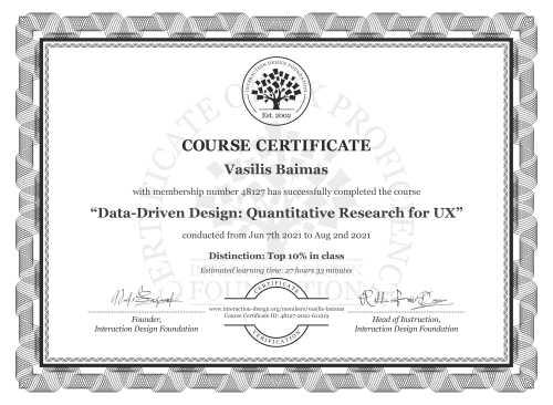 Vasilis Baimas's Course Certificate: Data-Driven Design: Quantitative Research for UX