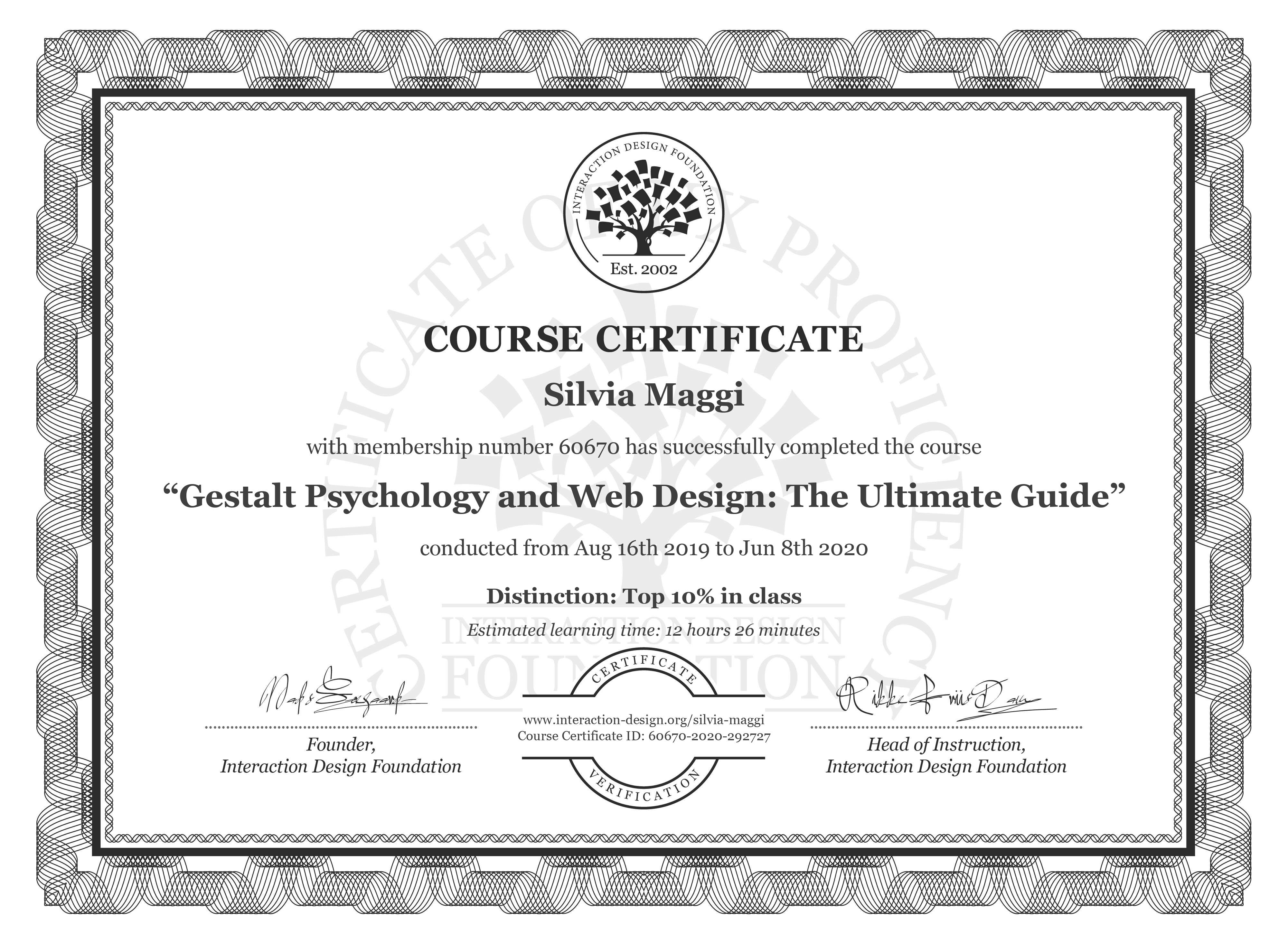 Silvia Maggi's Course Certificate: Gestalt Psychology and Web Design: The Ultimate Guide