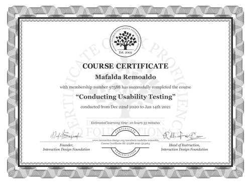 Mafalda Remoaldo's Course Certificate: Conducting Usability Testing