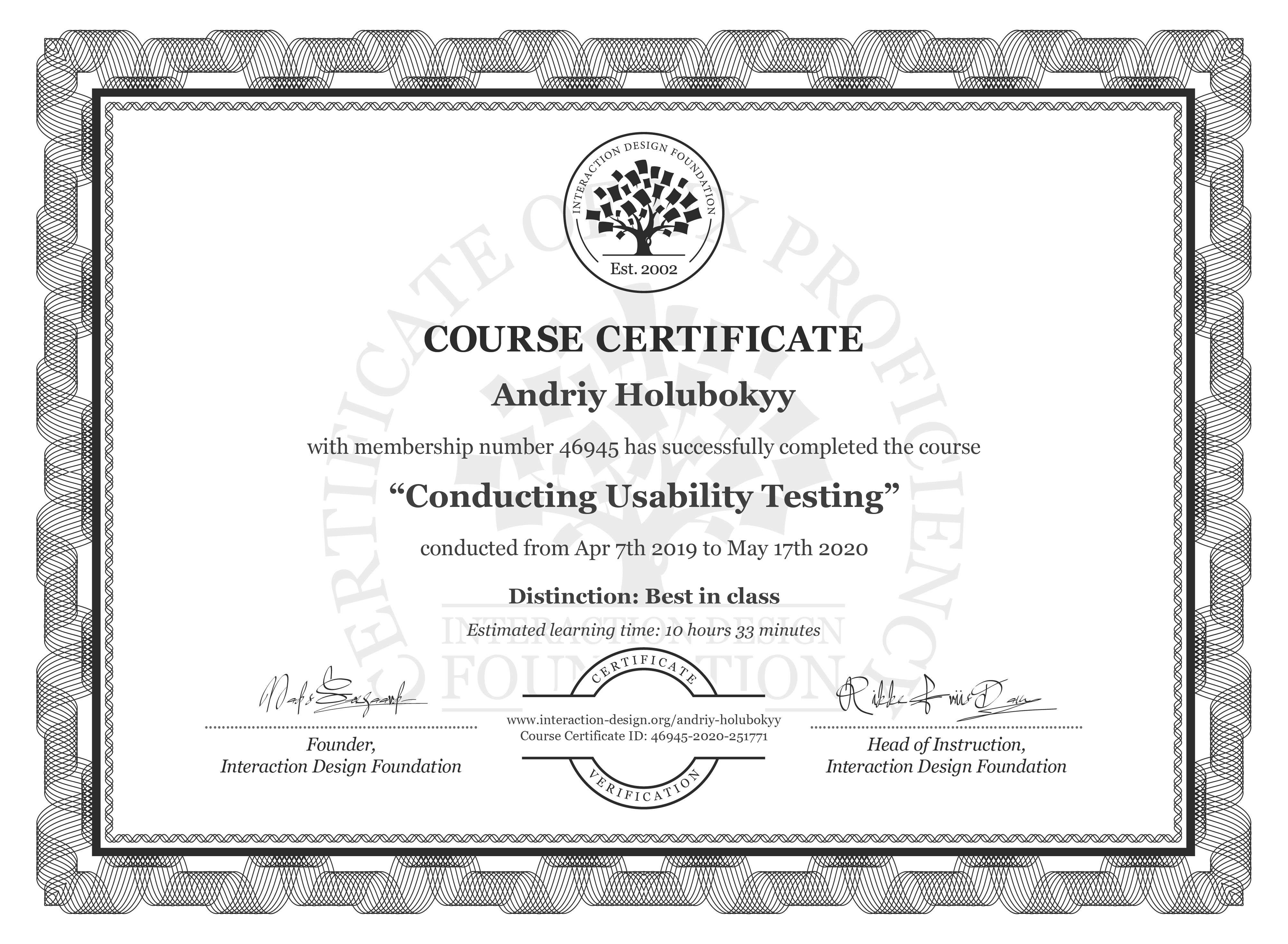 Andriy Holubokyy's Course Certificate: Conducting Usability Testing