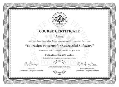 Anna's Course Certificate: UI Design Patterns for Successful Software