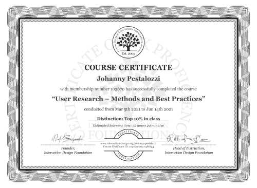 Johanny Pestalozzi's Course Certificate: User Research – Methods and Best Practices
