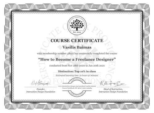 Vasilis Baimas's Course Certificate: How to Become a Freelance Designer