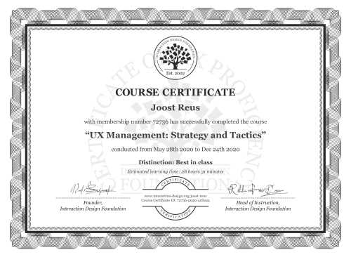 Joost Reus's Course Certificate: UX Management: Strategy and Tactics