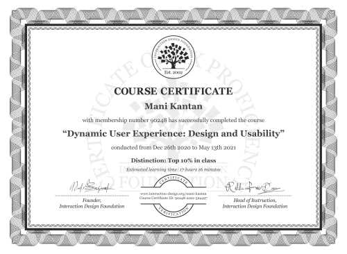 Mani Kantan's Course Certificate: Dynamic User Experience: Design and Usability