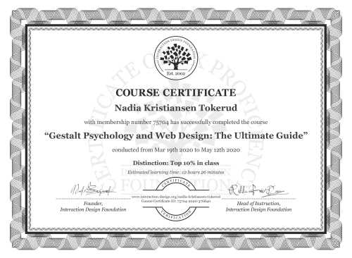 Nadia Kristiansen Tokerud's Course Certificate: Gestalt Psychology and Web Design: The Ultimate Guide