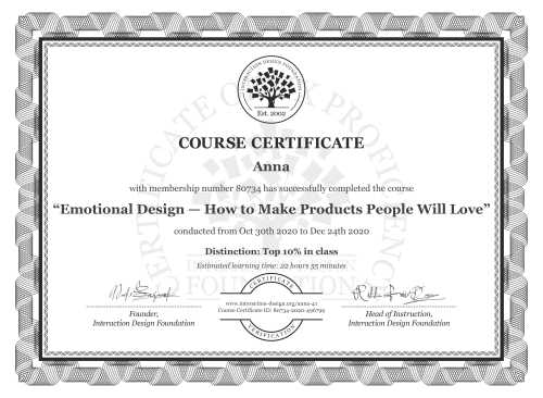 Anna's Course Certificate: Emotional Design — How to Make Products People Will Love