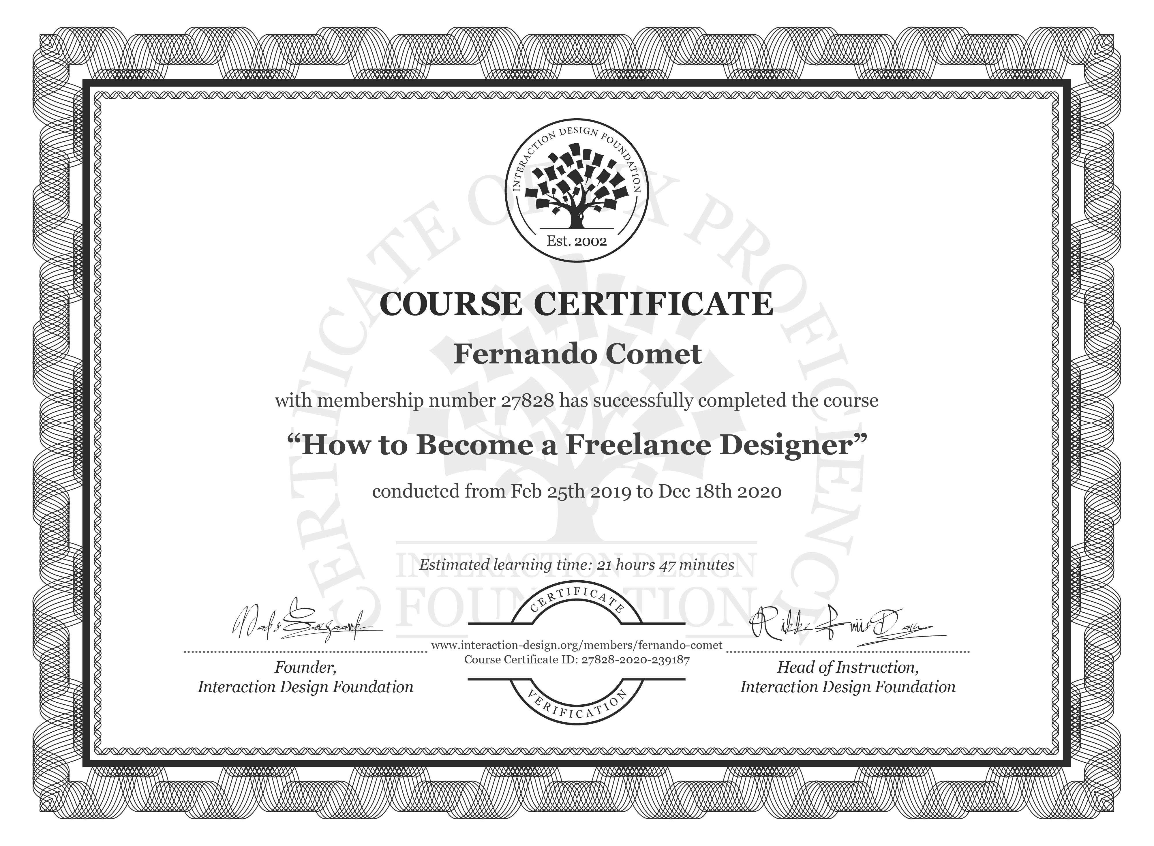 Fernando Comet's Course Certificate: How to Become a Freelance Designer