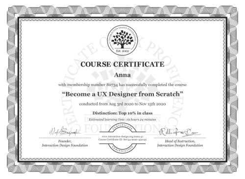 Anna's Course Certificate: User Experience: The Beginner's Guide