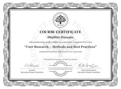 Shabbir Hossain's Course Certificate: User Research – Methods and Best Practices